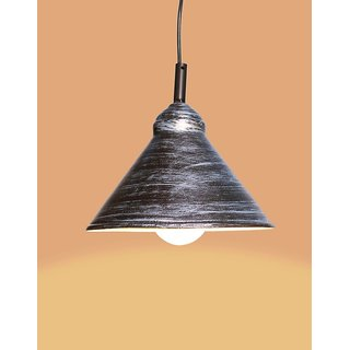 AH  Black Color With Silver Shading Iron  Pendant Ceiling Hanging Lamp ( Pack of 1 )