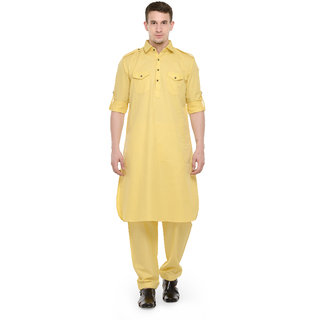 RG Designers Light yellow pathani kurta Salwar Set
