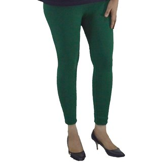 Areum DARK GREEN COTTON LYCRA WOMEN LEGGINGS ANKLE LENGTH