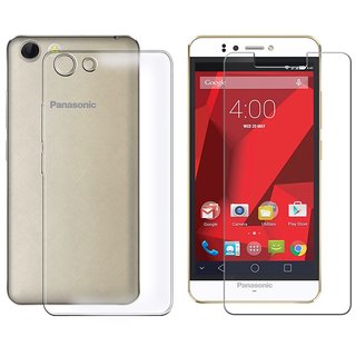 Deltakart Silicon Soft Back Cover Case For Panasonic P55 Novo With Tempered Glass - Transparent