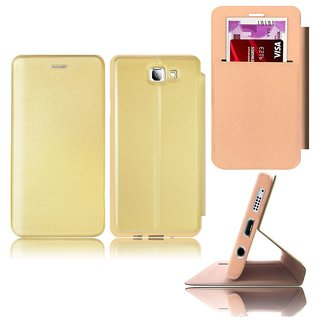Samsung Galaxy A9 Pro Flip Cover By Deltakart - Golden