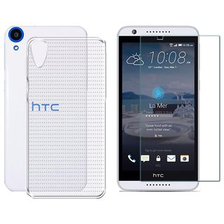 Deltakart Silicon Soft Back Cover Case For Htc Desire 820s With Tempered Glass - Transparent