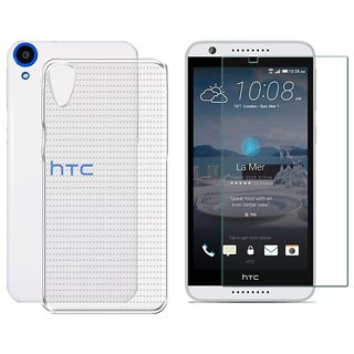 Deltakart Back Cover For HTC Desire 820S - Transparent With Tempered Glass Screen Guard