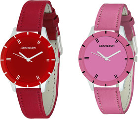 Grandson Red And Pink Casual Analog Watch For Girls And