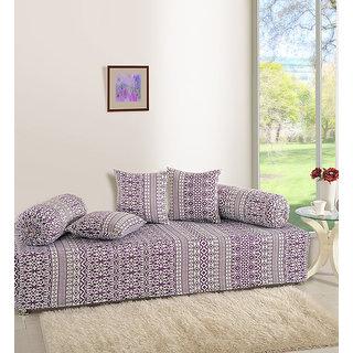 Saavra Ethnic Purple Cotton Single Diwan Set - Set of 6