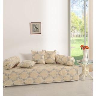 Saavra Beige Grey Cotton Single Diwan Set - Set of 6