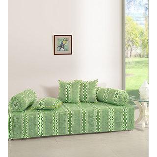 Saavra Geometric Green Cotton Single Diwan Set - Set of 8
