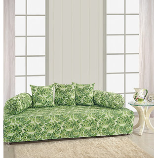 Saavra Green Nature Cotton Single Diwan Set - Set of 8