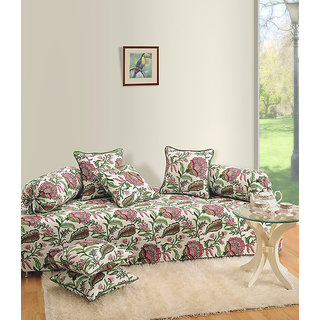 Saavra Classy Floral Cotton Single Diwan Set - Set of 8