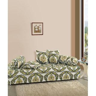 Saavra Floral Crest Cotton Single Diwan Set - Set of 8