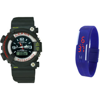 Grandson Black And Blue Casual Digital And Analog  Watch For Boys And Girls Kids