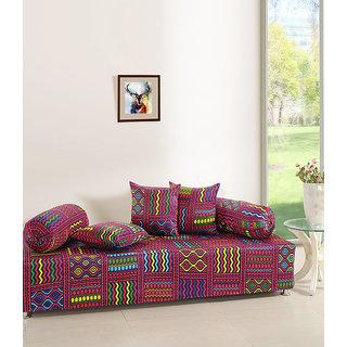 Saavra Creative Colors Cotton Single Diwan Set - Set of 8