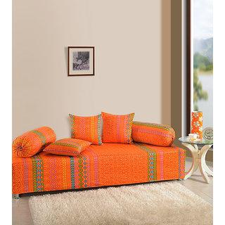 Saavra Ethnic Glow Cotton Single Diwan Set - Set of 8