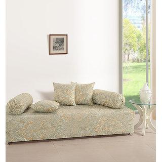 Saavra Classy Grey Cotton Single Diwan Set - Set of 8
