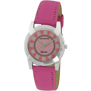 Grandson Pink Leather Casual Analog Watch For Girl's And Women