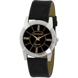 Grandson Black Leather Casual Analog Watch For Girl's And Women