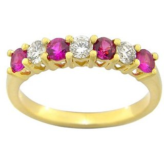 Ishqq Exclusive Real Diamond Ruby Ring Hallmark Solid Gold