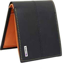 Radon Men's Casual, Formal Black+Tan Genuine Leather Wallet  (9+ Card Slots)