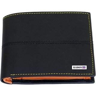 Radon Men's Casual 2 line Black+Tan Genuine Leather Wallet  (9+ Card Slots)
