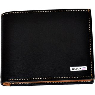 Radon Mens Casual Plain Black+Tan Genuine Leather Wallet (9+ Card Slots)