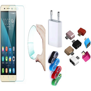 Samsung Galaxy A7 03mm Curved Edge HD Flexible Tempered Glass with Nylon USB Travel Charger and Micro USB OTG Adaptor