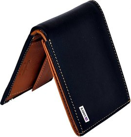 Radon Men's Casual Plain Black+Tan Genuine Leather Wallet  (9+ Card Slots)