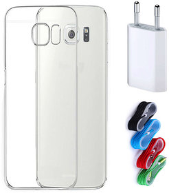 Samsung Galaxy S6 Edge Plus Soft Transparent TPU Back Cover with Nylon USB Travel Charger