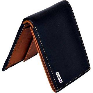 a7fddb69b1a3d Radon Men s Casual Plain Black+Tan Genuine Leather Wallet (9+ Card Slots)