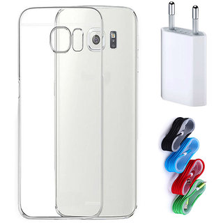 47800e796 Buy Samsung Galaxy S6 Edge Plus Soft Transparent TPU Back Cover with Nylon  USB Travel Charger Online - Get 40% Off