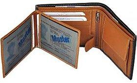 Radon Men's Casual  Black+Tan Genuine Leather Wallet  (9+ Card Slots) L-2