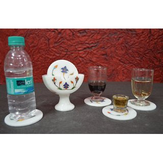 Coaster set Marble ( 6 pcs coaster with 1 stand holder) with Inlay work