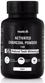 Healthvit Activated Charcoal Powder 20gm for Natural Teeth Whitening.