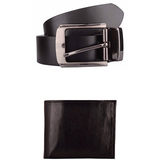 Exotique Mens Black Formal Belt & Wallet Combo (EC0005BK)