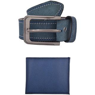 Exotique Mens Blue Casual Belt & Wallet Combo (EC0004BL)