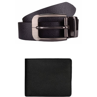 Exotique Mens Black Formal Belt & Wallet Combo (EC0010BK)