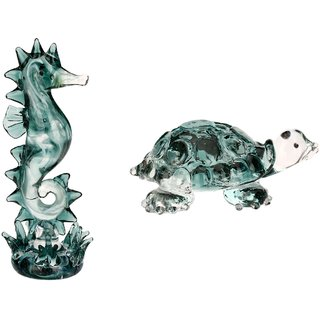 Somil Attractive Crystal Seahorse & Tortoise Feng-sui Combo-C76