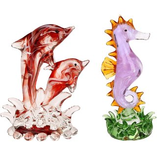 Somil Playing Dolphin Pair & Lovely Seahorse In Water Combo-C90