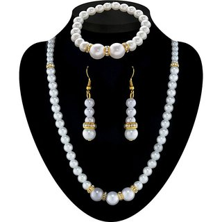 JewelMaze Pearl Gold Plated Mala Set With Bracelet-PAA0267