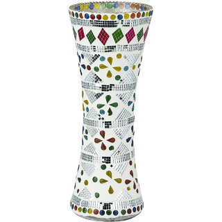 Somil Glass White Flower Vase Decorative With Colorful Chips & Mirror