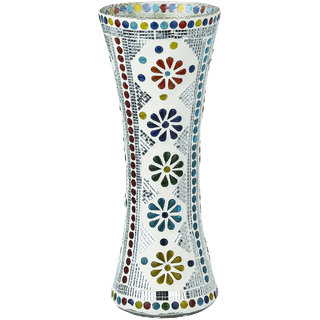 Somil White Glass Flower Vase Decorate With Colorful Chips & Mirror
