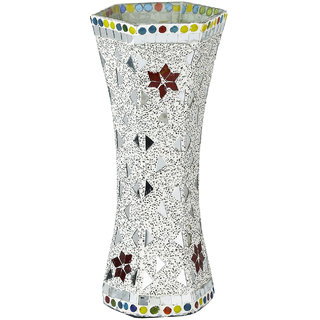 Somil White Glass Flower vase New Shape Decorate With Chips & Mirror