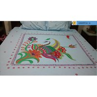Cotton Hand Painted Double Bedsheet With One Set Of Pillow Covers.