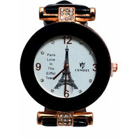 Women White Eiffel Tower Dial Black Strap Analog Party