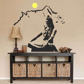 Asmi Collections PVC Wall Stickers Beautiful God Shiva on Kailash