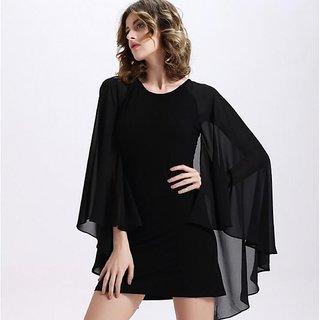 Aashish Garments Black Cape Style Dress
