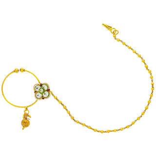 Anuradha Art Golden Finish Rajasthani Look Classy Nose Pin Dulhan Nose Ring Nath For Women