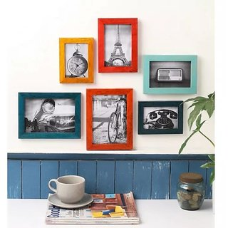 Onlineshoppee Multicolour Mango Wood 6-piece Photo Frame Collage