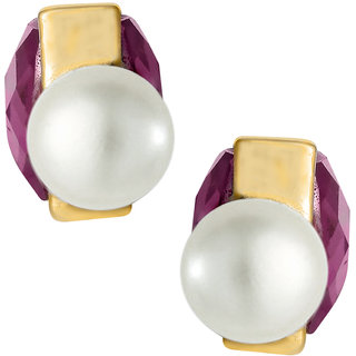 Spargz Purple Square Pearl Stud Earring Double Side Earring For Women AIER 706