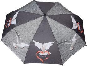 FabSeasons Grey, Bird Digital Printed, 3 Fold Fancy Automatic Umbrella for all Weather