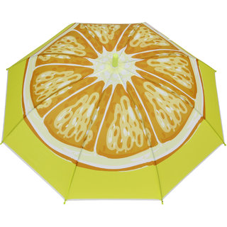 FabSeasons Kids Fancy Orange Fruit Printed Single Fold Stick Automatic Umbrella For Rains Summer and Sun Protection